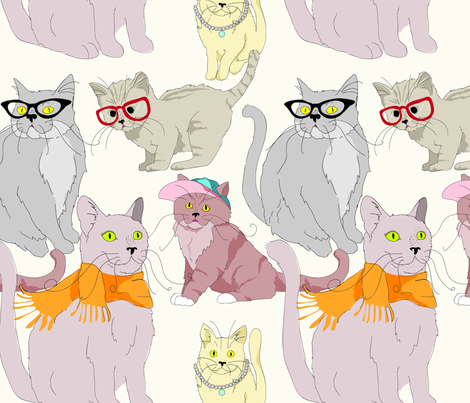 Accessory Cats fabric by marlene_pixley on Spoonflower - custom fabric