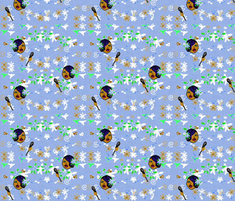 Lady Singing Blues fabric by kkitwana on Spoonflower - custom fabric