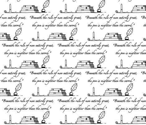 The Mighty Pen fabric by mayabella on Spoonflower - custom fabric