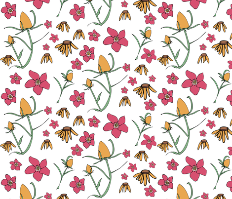 Forget Me Not in Pink fabric by sophiebenoit on Spoonflower - custom fabric