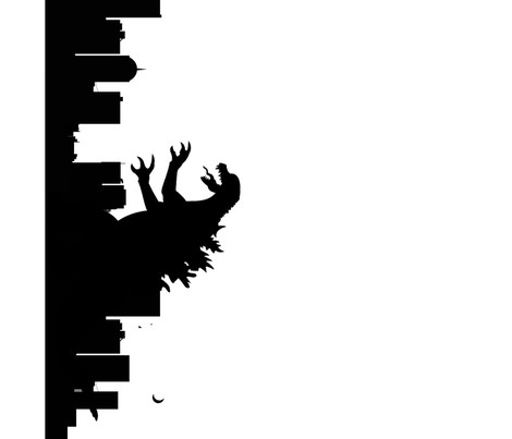 Godzilla_pillow_border fabric by anneleukocyte on Spoonflower - custom fabric