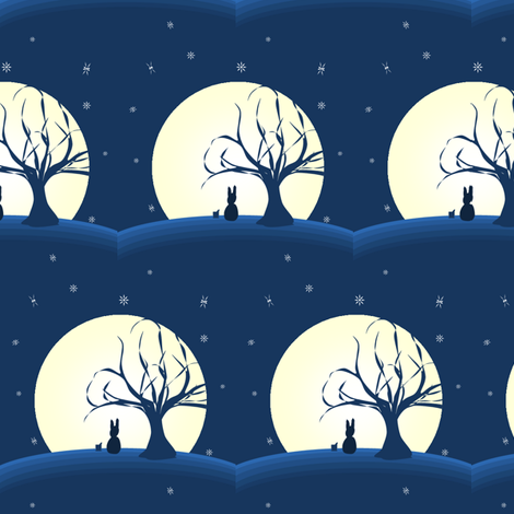 Moon Bunny fabric by ninjaauntsdesigns on Spoonflower - custom fabric