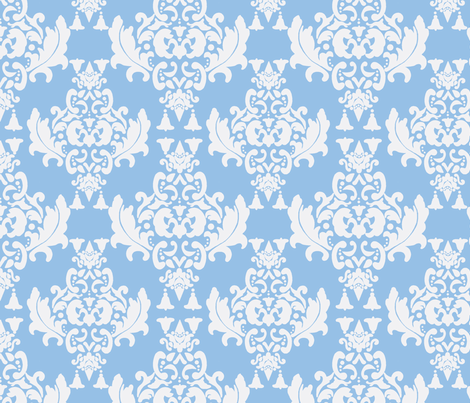 White on Blue Damask fabric by mayabella on Spoonflower - custom fabric