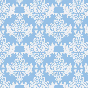 White on Blue Damask