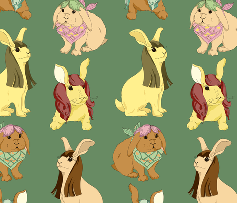 Hares In Wigs fabric by marlene_pixley on Spoonflower - custom fabric