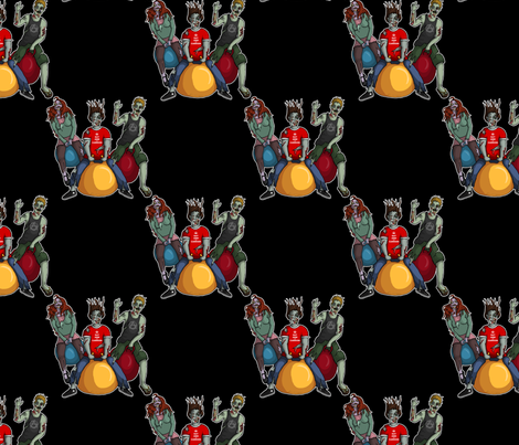 Bouncing Zombies 2.0 fabric by leeleeandthebee on Spoonflower - custom fabric