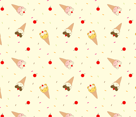 Ice Cream Bears fabric by marcelinesmith on Spoonflower - custom fabric