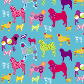 Pug fabric 'world of color'