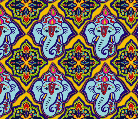 Ele_Boo_Blue_Ganesh_Big fabric by elephant_booty_studio on Spoonflower - custom fabric
