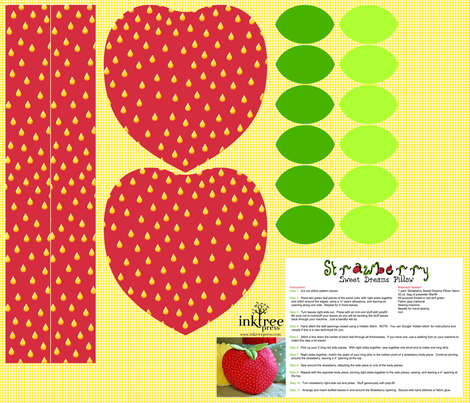 Strawberry-Sweet Dreams Pillow Kit fabric by inktreepress on Spoonflower - custom fabric