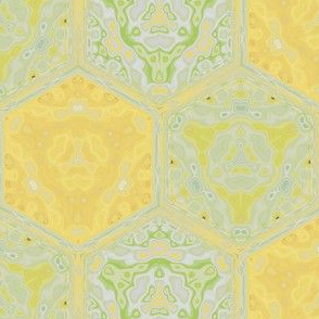 Daffodil Yellow and Green Tiled Pattern © Gingezel™ 2009