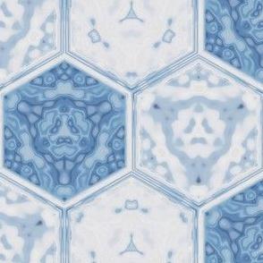 Hexagonal Tile Geometric in Spring Beauty Blue © 2009 Gingezel Inc.