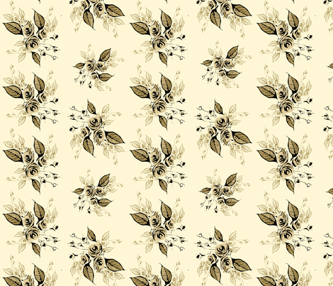 Roses Antique sepia fabric by joanmclemore on Spoonflower - custom fabric
