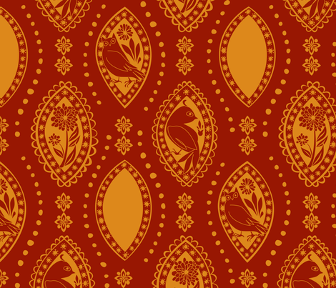 Spanish_Eyes_BURNTORANGE fabric by fuzzyskyfabric on Spoonflower - custom fabric