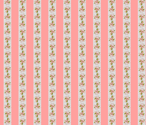 Roses Antique pink and gray stripe fabric by joanmclemore on Spoonflower - custom fabric