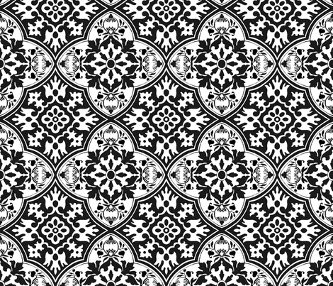 Black and White tile fabric by poetryqn on Spoonflower - custom fabric