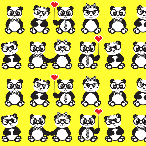 Panda Geek Chic Yellow fabric by jenniferfranklin on Spoonflower - custom fabric