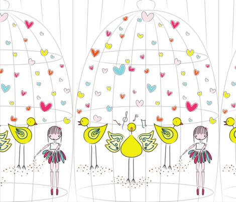 Mary and the Canary - white fabric by majobv on Spoonflower - custom fabric