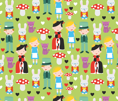 Alice in Wonderland fabric by ankepanke on Spoonflower - custom fabric