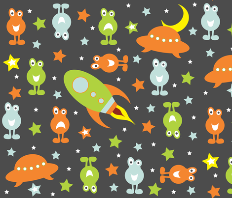 Twinkle Twinkle Little Space Monster fabric by jenniferfranklin on Spoonflower - custom fabric