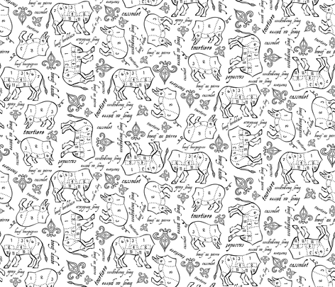 cutsofmeat fabric by karynservin on Spoonflower - custom fabric