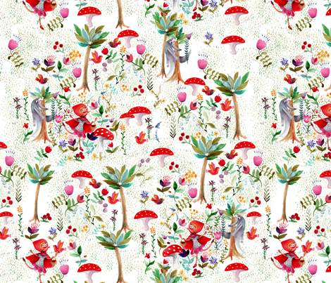 """attention au grand méchant loup !"" fabric by nadja_petremand on Spoonflower - custom fabric"