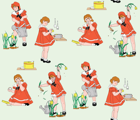 Girl with a Curl Nursery Rhyme fabric by vdyej on Spoonflower - custom fabric