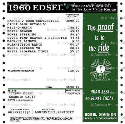 1960 Edsel window sticker