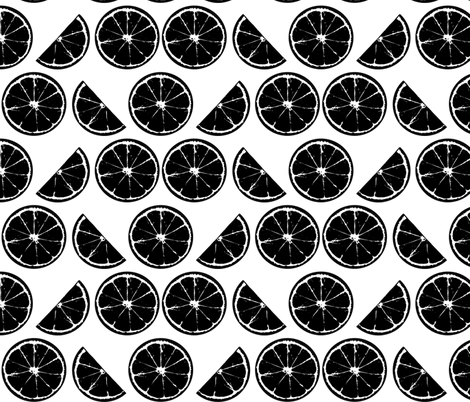 Black and White Lemons fabric by pange on Spoonflower - custom fabric