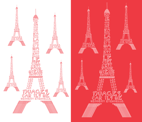 "Poem ""La Tour Eiffel"" by Maurice Carème fabric by geraldine_adams on Spoonflower - custom fabric"