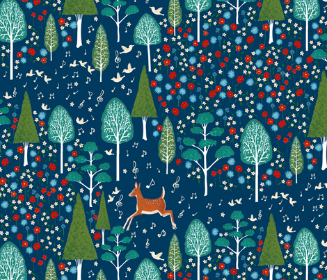 In the Forest Blue fabric by kezia on Spoonflower - custom fabric