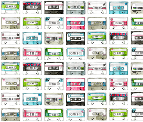 Colourful Cassette Tapes fabric by *erinred* on Spoonflower - custom fabric