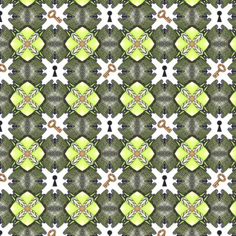 Lock and Key fabric by siya on Spoonflower - custom fabric
