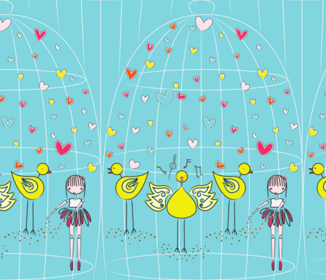 Mary and the Canary - cyan fabric by majobv on Spoonflower - custom fabric