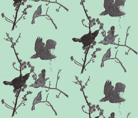 Blackbirds on Robins Egg Blue fabric by retrofiedshop on Spoonflower - custom fabric