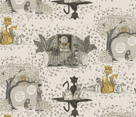 "The Hidden Paw (based on T.S. Eliot's ""Macavity, the Mystery Cat"") fabric by ceanirminger on Spoonflower - custom fabric"