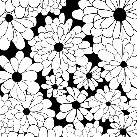 Spanish_Flowers_BLACKWHITE fabric by fuzzyskyfabric on Spoonflower - custom fabric