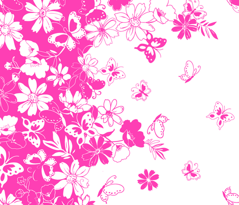 ButterflyDasyBorder_pink fabric by thornbirds on Spoonflower - custom fabric