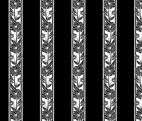 Spanish_Floral_Stripe_BLACKWHITE fabric by fuzzyskyfabric on Spoonflower - custom fabric
