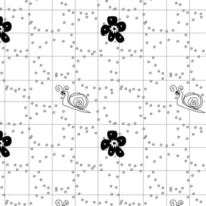 Black and White Flowers and Snails Coordinate