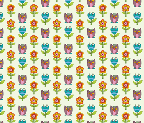 Flower & Owl fabric by mobuedinger on Spoonflower - custom fabric