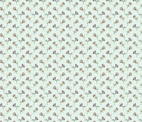 Scattered Flowers Green fabric by mobuedinger on Spoonflower - custom fabric