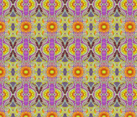 Sunflower Batik Peek A Boo (violet) fabric by edsel2084 on Spoonflower - custom fabric