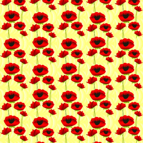 Poppies in Spring fabric by ninjaauntsdesigns on Spoonflower - custom fabric