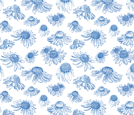 Coneflowers - Indigo on White fabric by coloroncloth on Spoonflower - custom fabric