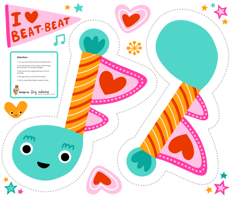 Beat-Beat music note toy fabric by liz-adams on Spoonflower - custom fabric