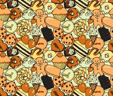 Sugar Galore (Sepia) fabric by shirayukin on Spoonflower - custom fabric