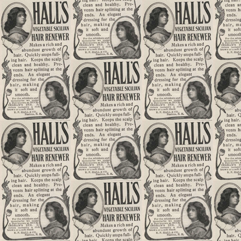 Hall's Hair 1907 ad fabric by edsel2084 on Spoonflower - custom fabric