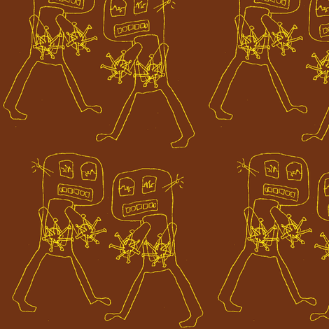 Destructo, yellow on brown fabric by nalo_hopkinson on Spoonflower - custom fabric