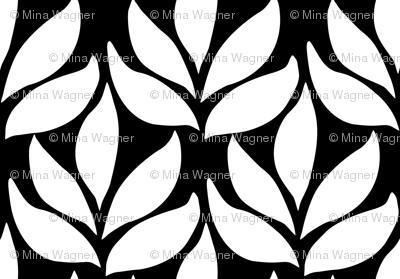 Leaf texture fabric - lg white-BLACK